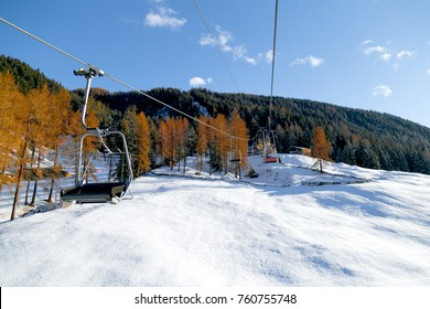 skii lift at the mountains in Davos Switzerland