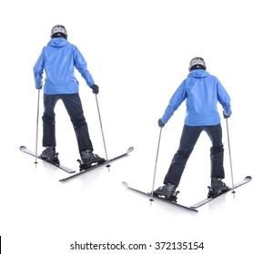 Skiier demonstrate how to slide forward. Step by step instruction.