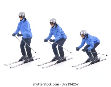 Skiier demonstrate how to take a correct position. Attitude in skiing.