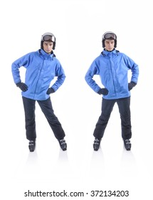 Skiier demonstrate warm up exercise for skiing. Hips to the side.
