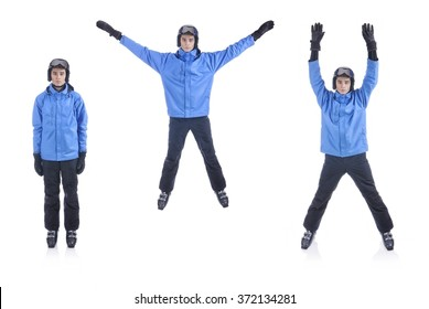 Skiier demonstrate warm up exercise for skiing. The Jumping Jacks.