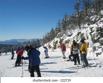 Skiiers in Killington, Vermont.