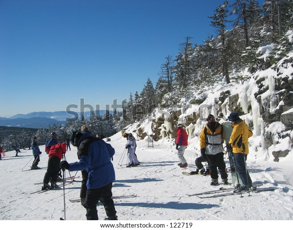 Skiiers in Killington, Vermont.