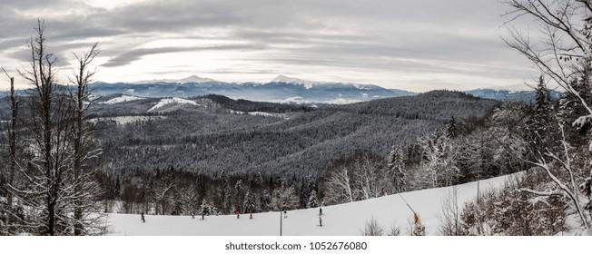 Skiiing in Bukovel mountains in winter