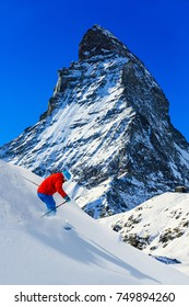 Skiing with amazing panorama of Pale di San Martino di Castrozza, Dolomites mountain, Italy