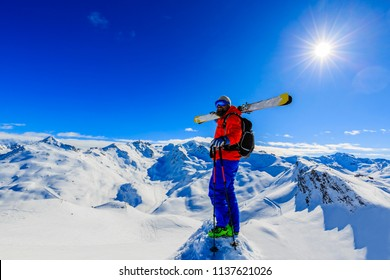 Skiing with amazing view of swiss famous mountains in beautiful winter snow in France