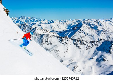 Skiing with amazing view of swiss famous mountains in beautiful winter snow of Mt Fort. The matterhorn and the Dent d'Herens. In the foreground the Grand Desert glacier.