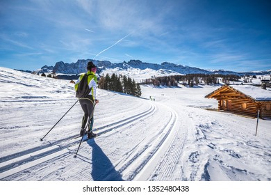 The skiing area Groeden with St. Ulrich, St. Christina and Wolkenstein areas in Dolomite Alps, South Tyrol, Italy