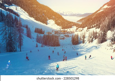 Skiing area in West Alps in the morning light. Beautiful winter landscape - nature and sport toning picture