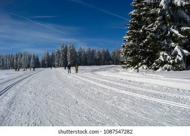 Skiing area. Winter wonderland in the Ore Mountains in Saxony, Germany