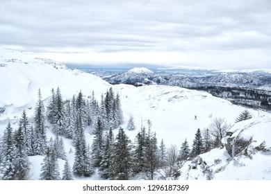 Skiing in a breathtaking landscape in Bergen, Norway
