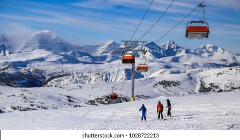 Skiing in the Canadian Rockies near Banff, Alberta