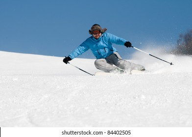 Skiing downhill (space for text)