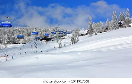 Skiing at Feldberg. Black Forest, Germany.