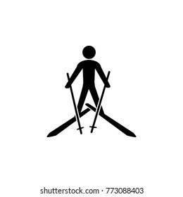 Skiing icon. Silhouette of an athlete icon. Sportsman element icon. Premium quality graphic design. Signs, outline symbols collection icon for websites, web design on white background