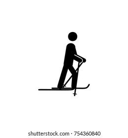 Skiing icon. Simple winter games icon. Can be used as web element, playing design icon on white background