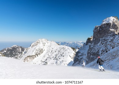 Skiing at mount Wendelstein with spectacular landscape, Bayrischzell, Bavaria, Germany
