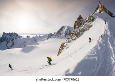Skiing off the famous Aiguille du Midi near Chamonix in the French Alps
