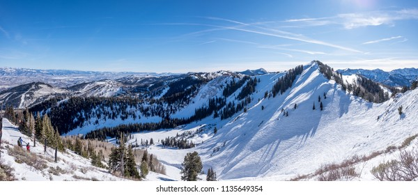 Skiing on a mountain - vista point - panorama - back country - no boundaries