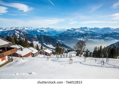 Skiing path on the top of the Rigi mountain, Switzerland