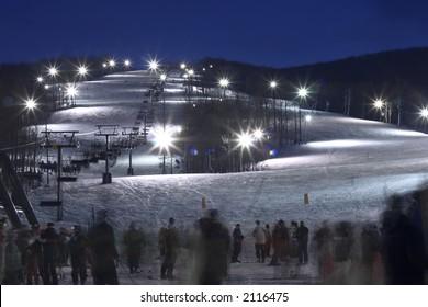 skiing resort in the evening