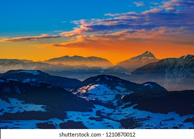 Skiing resort Wilder Kaiser. Stunning sunrise over the alps.