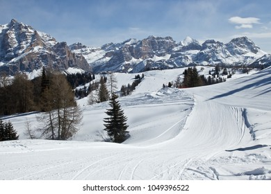 Skiing slope in the Dolomites, Italy