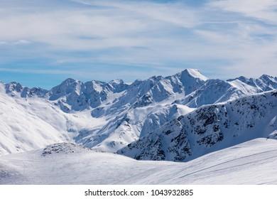 Skiing slopes in Apls i Italy, livigno