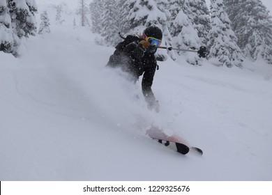 Skiing and snowboarding at Bridger Bowl near Bozeman, Montana.
