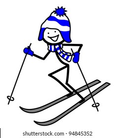 Skiing stick-person