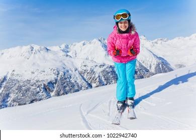 Skiing, winter, child - young skier in winter resort