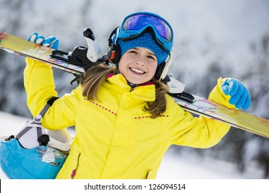 Skiing, winter, child - young skier in winter resort