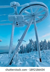 Skilift covered in snow in Sweden
