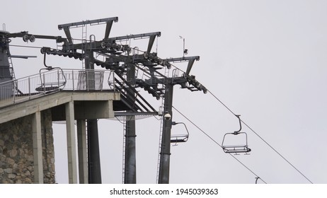 Skilift on Kasprowy Wierch on overcast winter day. High quality photo