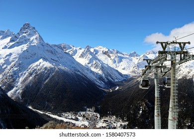 skilift in the snowy mountains of the Caucasus