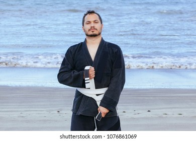 skill jiujitsu asian teacher with black uniform