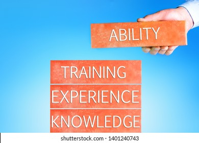 Skill Knowledge Ability Business. Businessman With Wording Abilities, Training, Knowledge, Experiens.