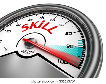 Skill level hundred per cent conceptual meter, isolated on white background