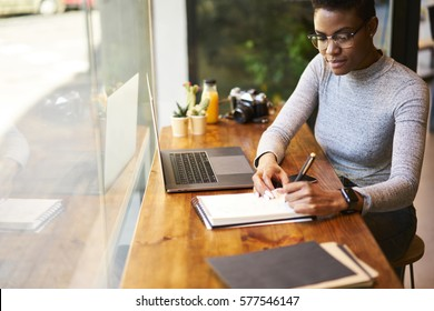 Skilled afro american female financier working overtime to finish report before leader council begins concentrated on accountings during break sitting in cafe using free wireless internet connection