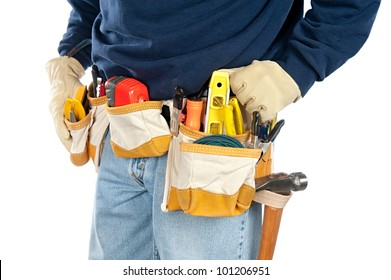 A skilled tradesman stands with his fully loaded tool belt ready to work.  Isolated on white for designer convenience.