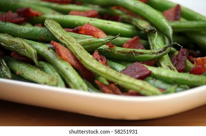 Skillet Roasted Green Beans with Applewood Smoked Bacon