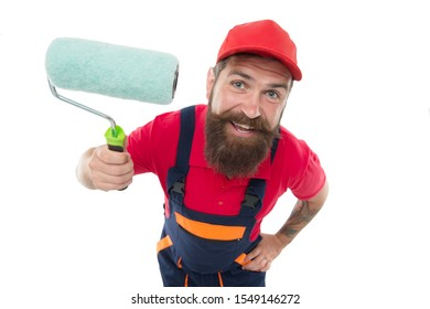 Skillful and professional painter. Bearded man painter isolated on white. Wall painter with painting tool. Brush roller painter. Painters work. Construction and renovation. Decoration and decor.