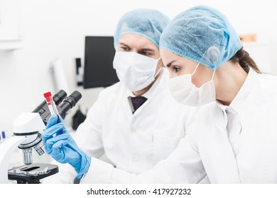 Skillful two scientists are working in laboratory
