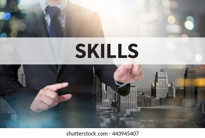 SKILLS and businessman working with modern technology