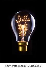 Skills concept in a filament lightbulb.
