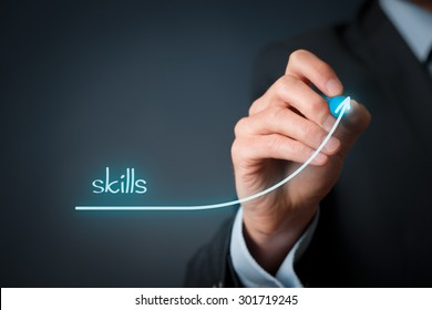 Skills improvement concept. Businessman draw rising curve of skills.