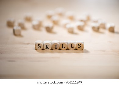Skills word on blocks. Skills concept.