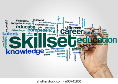 Skillset word cloud concept on grey background