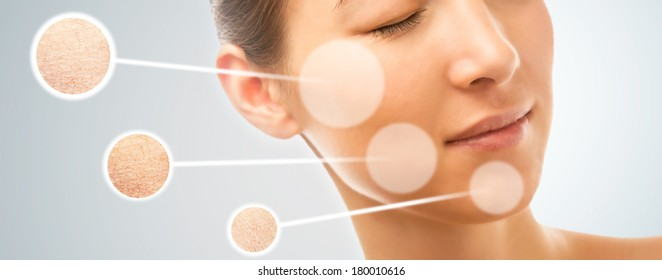 Skin of beautiful young woman before and after the cosmetics procedure, dry and smooth skin, concept of skincare