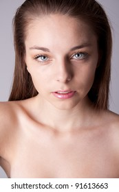 Skin and beauty care - young beautiful female - Close up portrait of a beautiful female model